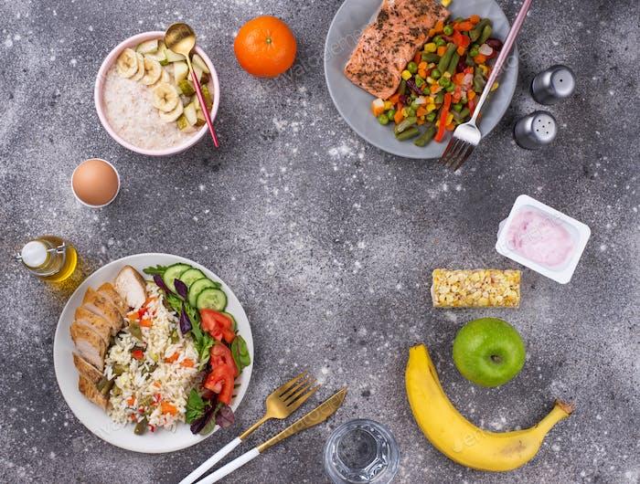 Gesundes ausgewogenes Menü für den Tag