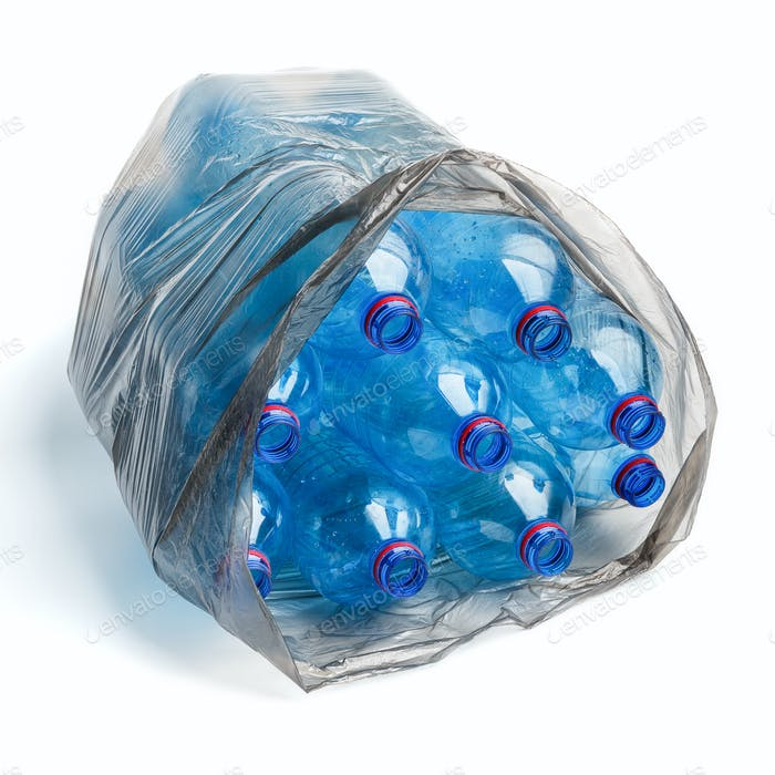 Garbage bag with plastic bottles