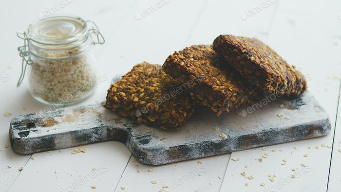 Closeup of whole grain bread with sunflower seeds