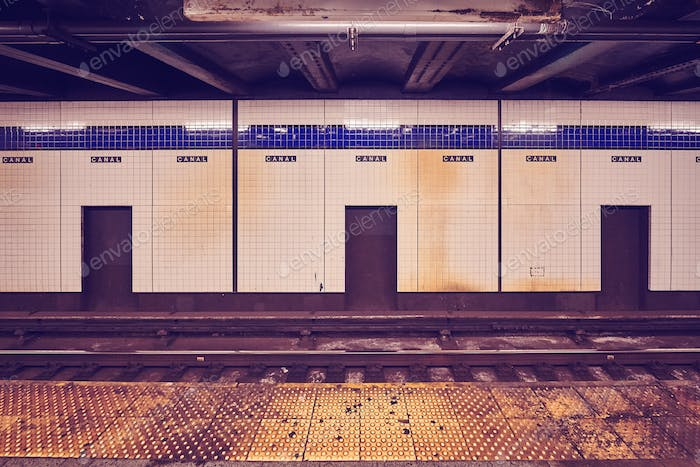 Canal Street subway station platform, New York.