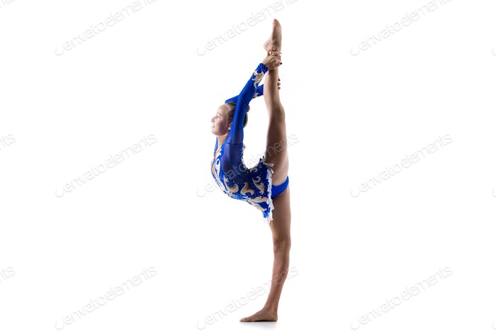 Dancer girl doing standing backbend