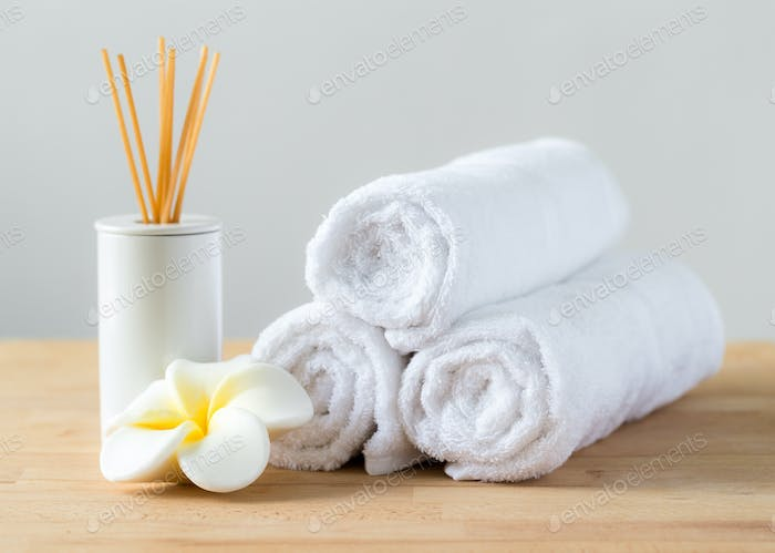 Aromatherapy spa plumeria and towel