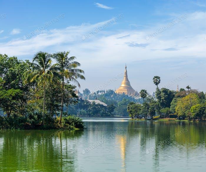 View of Shwedagon Pagoda over Kandawgyi Lake