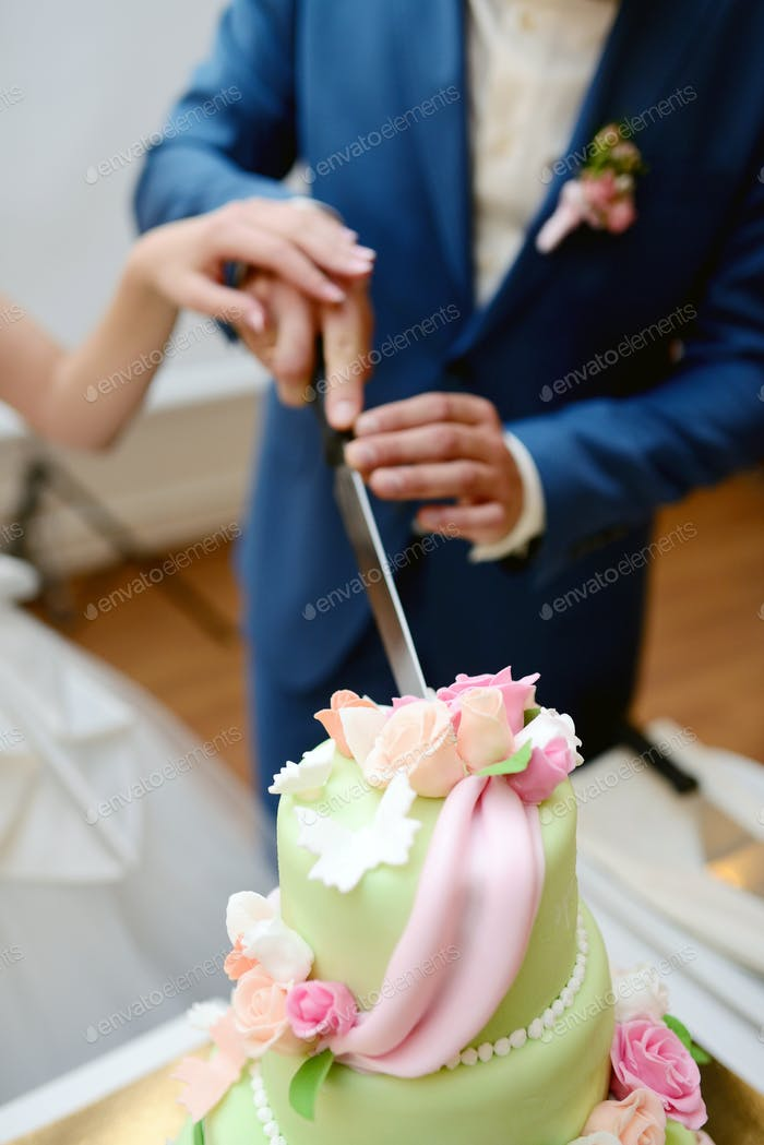 Beauty bride and handsome groom are cutting a wedding cake