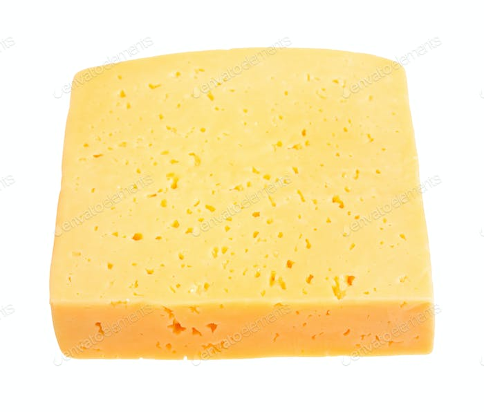 piece of yellow medium-hard cheese isolated