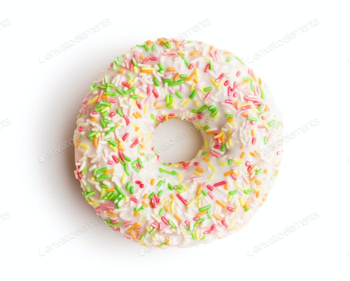 Sweet sprinkled donut.