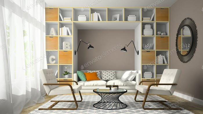 Interior of modern design room with two white armchair 3D render
