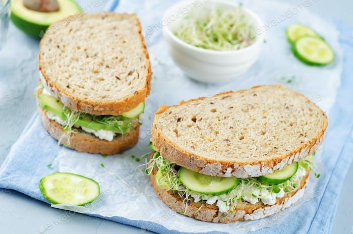 Ricotta-Sprossen Avocado Gurken Roggen-Sandwich