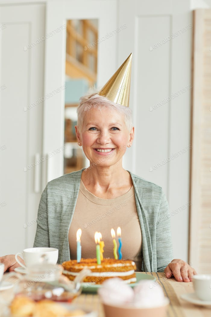 Happy woman has a birthday