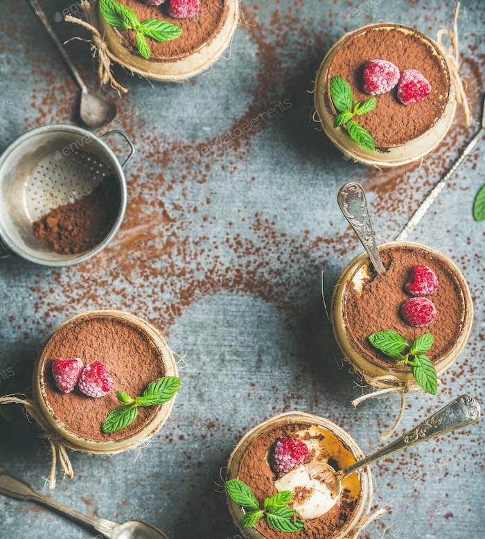 Homemade dessert Tiramisu in glasses, copy space