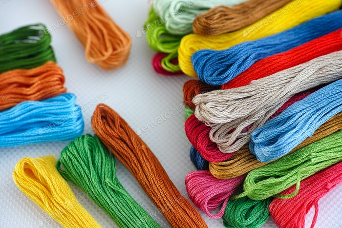 Colorful cross stitch embroidery threads