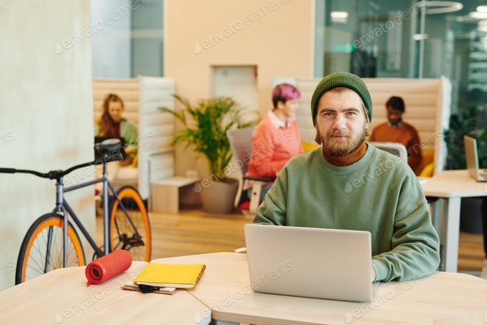 Bearded male office manager in casualwear using laptop against colleagues