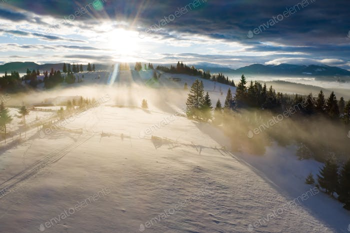 Drone view of magic winter landscape. Holiday, travel concept.