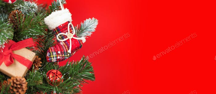 Christmas card with decorated fir tree