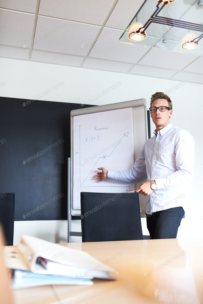 White male executive leading a meeting