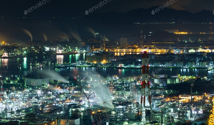 Mizushima industrial area in Japan at night