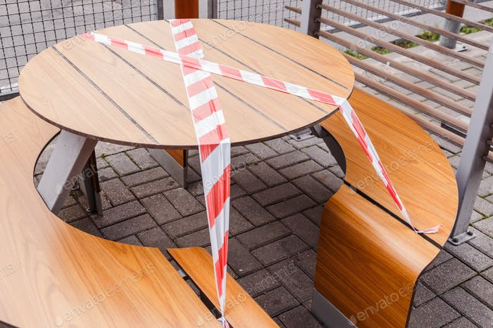 Outdoor cafe is closed for quarantine during coronavirus epidemic
