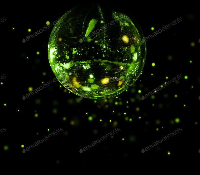 Colorful disco mirror ball green light spots