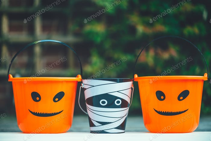 Trick or Treat Empty Halloween Buckets