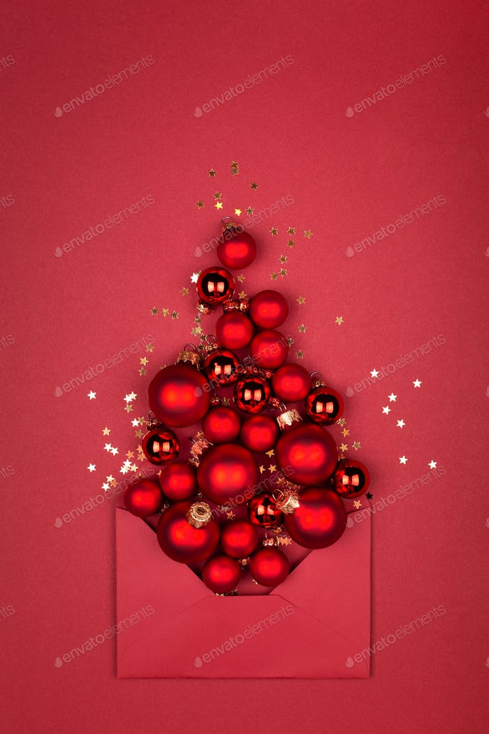 Conceptual Christmas Tree Made of Red Baubles.