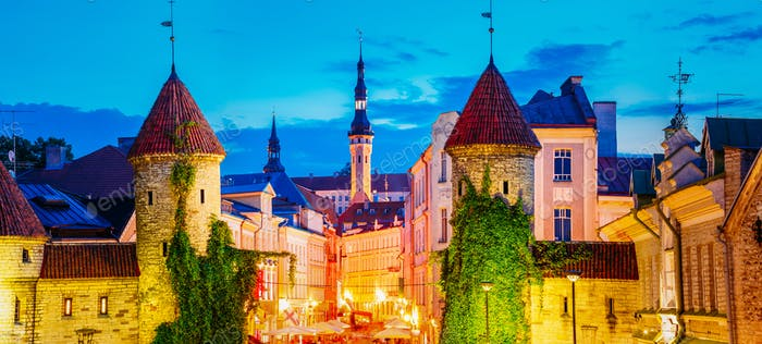 Tallinn, Estonia. Night View Of Viru Gate - Part Old Town Archit