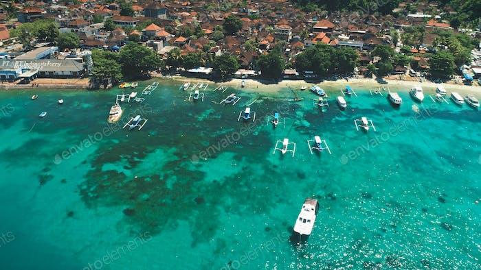 Aerial Flight over Crystal Ocean Harbor Bay