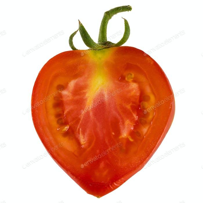 Thin slice of fresh tomato, isolated on white background