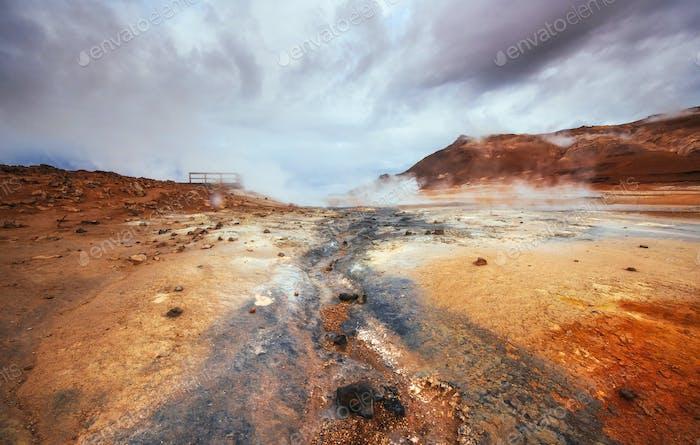 Fumarole field in Namafjall Iceland