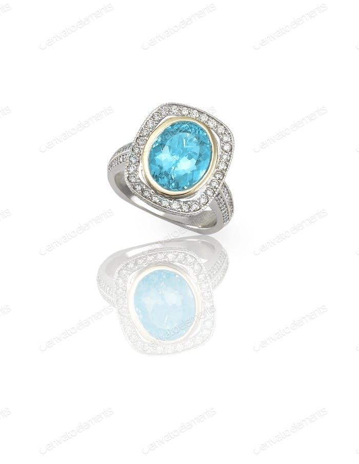 Türkis blau Topas Cabochon Silber Fashion Ring
