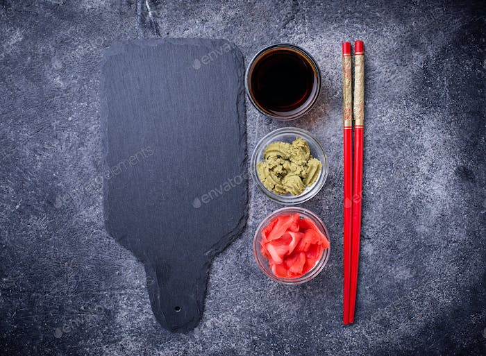 Wasabi, ginger and soy sauce.