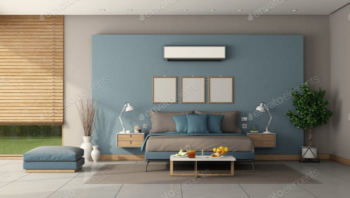 Modern master bedroom with minmalist double bed and air conditioner