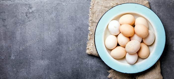 Eggs Chicken Homemade in a Metal Bowl