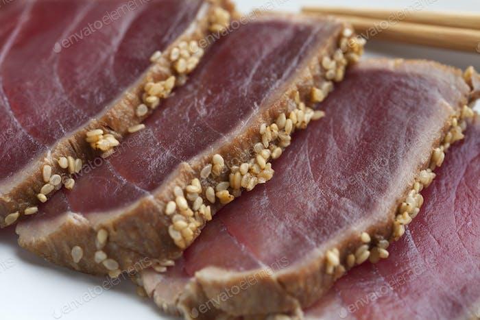Tuna Tataki sashimi with sesame seeds