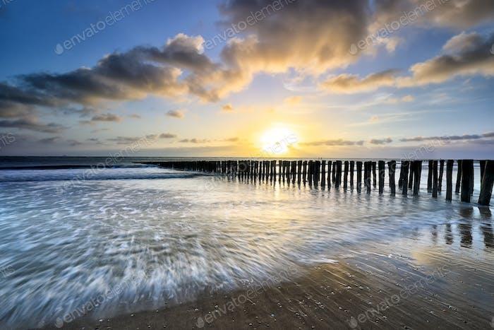 beautiful sunset over North sea coast