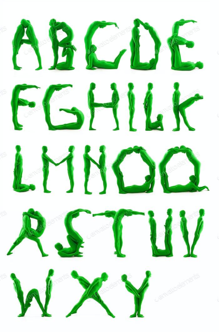 Menschen grüne Alphabet Buchstaben