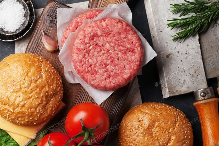 Tasty grilled home made burgers cooking