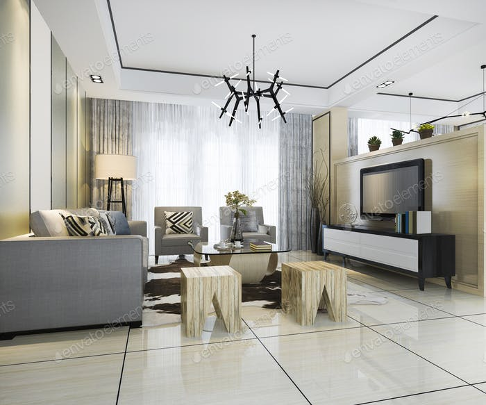 3d rendering white modern classic living room with marble tile