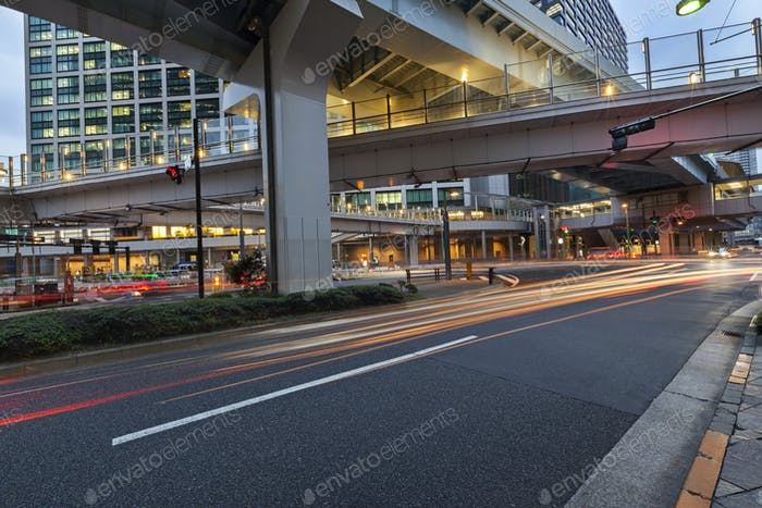 Modern architecture. Elevated Highways and skyscrapers in Tokyo