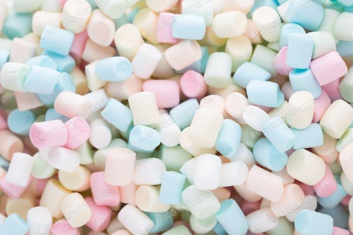 Hintergrund oder Textur von bunten Mini-Marshmallows.