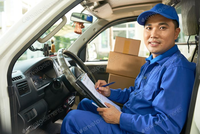 Develiry truck driver checking document