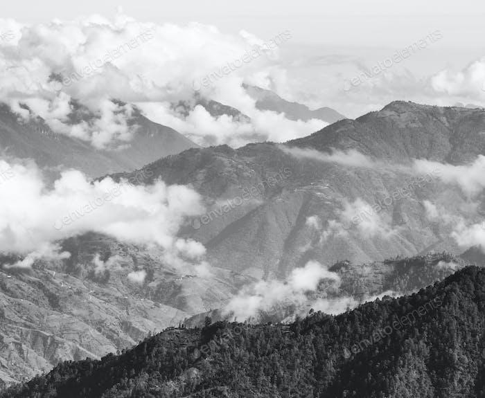 Guatemala Berglandschaft Schwarz und Weiß