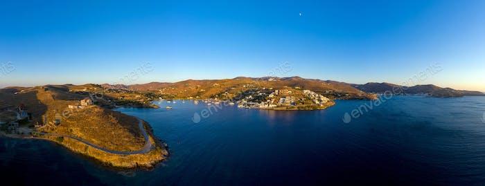 Luftbild Drohne Panorama von Kea Tzia griechischen Insel, Kykladen, Griechenland.