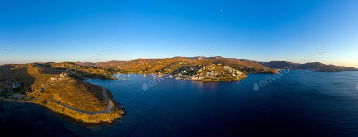 Aerial drone panorama of Kea Tzia greek island, Cyclades, Greece.