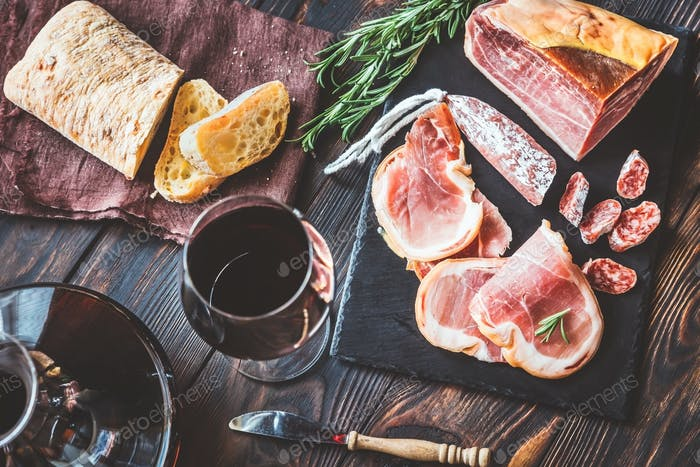 Thumbnail for Red wine with prosciutto ham