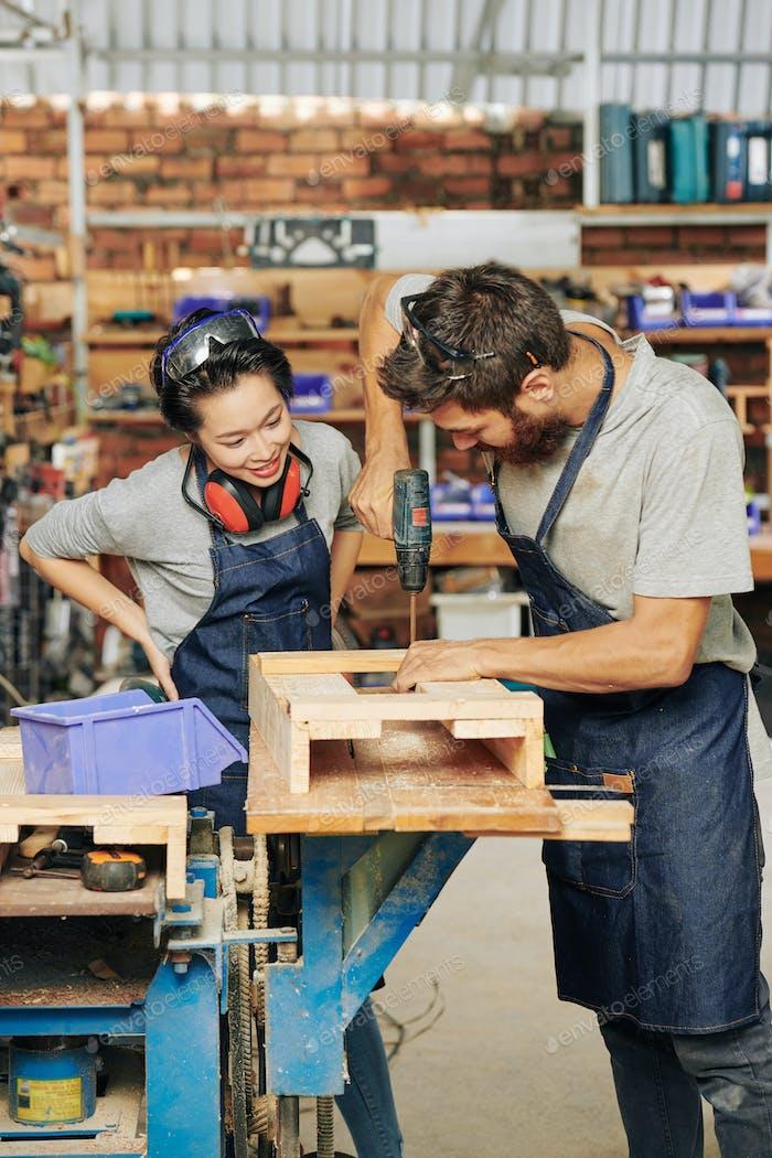 Carpernter making drawer