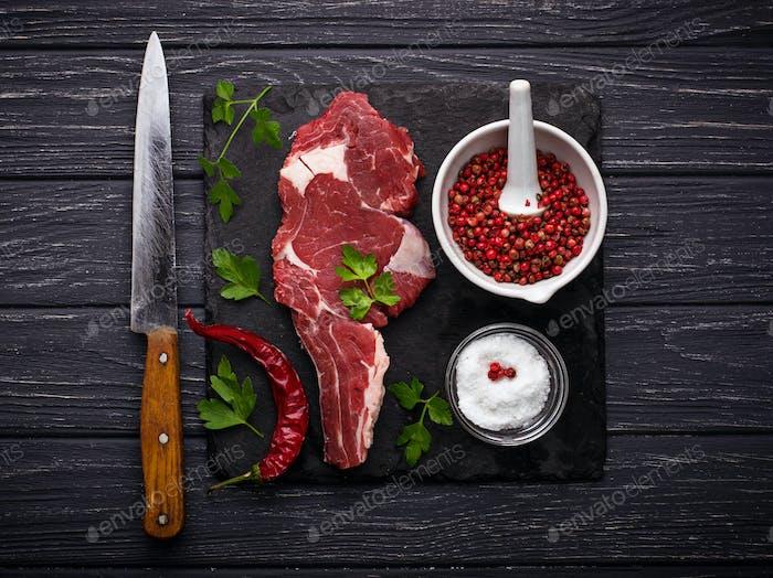Raw meat steak entrecote