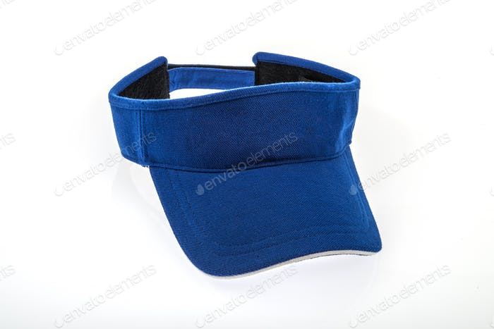 Golf Blue Visor With White Trim on White Background