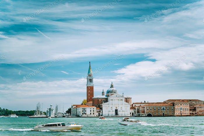 Venice, Italy. Chiesa di San Giorgio Maggiore or San Giorgio Maggiore island against blue sky and