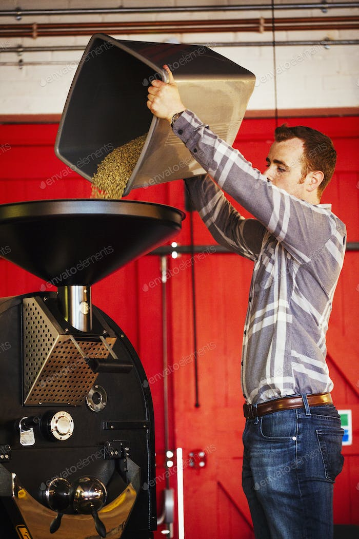 Specialist coffee shop. A man pouring coffee beans into a funnel into a coffee grinder.