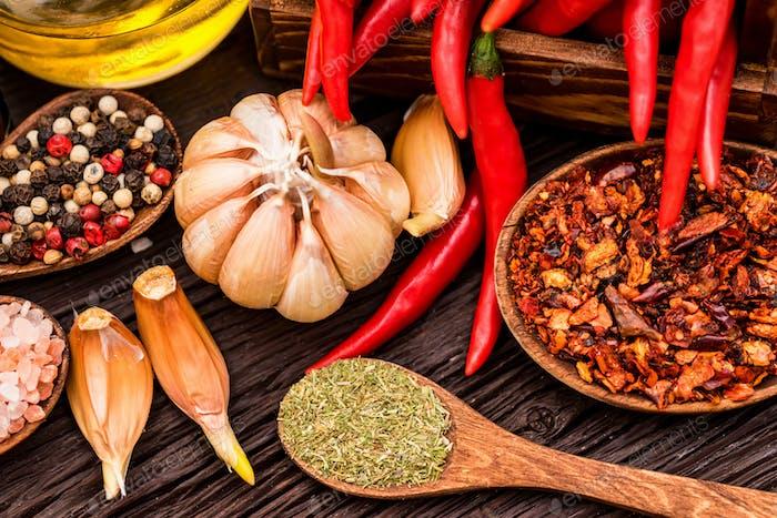 Zusammensetzung mit Chilischote und verschiedenen Gewürzen